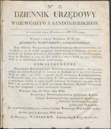 Dziennik Urzędowy Województwa Sandomierskiego, 1834, nr 17