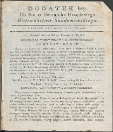 Dziennik Urzędowy Województwa Sandomierskiego, 1834, nr 17, dod. I