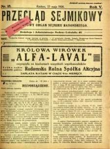 Przegląd Sejmikowy : Urzędowy Organ Sejmiku Radomskiego, 1926, R. 5, nr 18