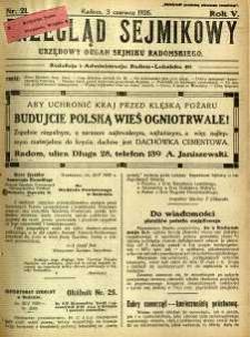 Przegląd Sejmikowy : Urzędowy Organ Sejmiku Radomskiego, 1926, R. 5, nr 21