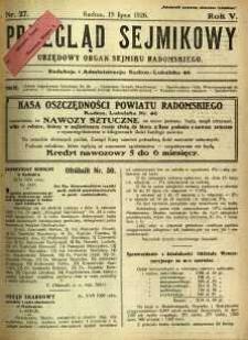 Przegląd Sejmikowy : Urzędowy Organ Sejmiku Radomskiego, 1926, R. 5, nr 27