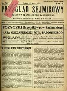 Przegląd Sejmikowy : Urzędowy Organ Sejmiku Radomskiego, 1926, R. 5, nr 28