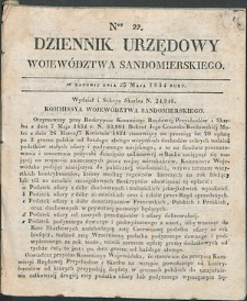 Dziennik Urzędowy Województwa Sandomierskiego, 1834, nr 22