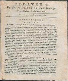 Dziennik Urzędowy Województwa Sandomierskiego, 1834, nr 25, dod. II