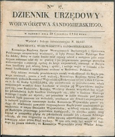 Dziennik Urzędowy Województwa Sandomierskiego, 1834, nr 27