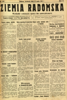 Ziemia Radomska, 1931, R. 4, nr 123
