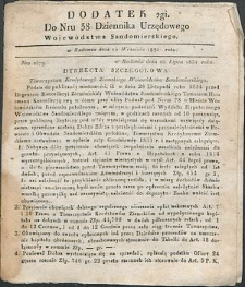 Dziennik Urzędowy Województwa Sandomierskiego, 1834, nr 38, dod. II