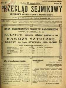 Przegląd Sejmikowy : Urzędowy Organ Sejmiku Radomskiego, 1926, R. 5, nr 33
