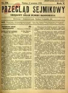 Przegląd Sejmikowy : Urzędowy Organ Sejmiku Radomskiego, 1926, R. 5, nr 34