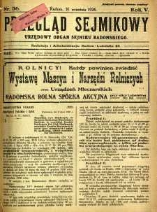 Przegląd Sejmikowy : Urzędowy Organ Sejmiku Radomskiego, 1926, R. 5, nr 36