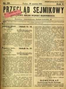 Przegląd Sejmikowy : Urzędowy Organ Sejmiku Radomskiego, 1926, R. 5, nr 38