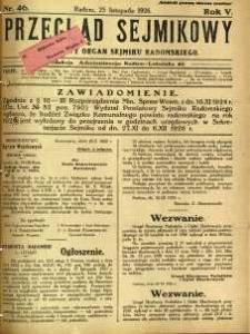 Przegląd Sejmikowy : Urzędowy Organ Sejmiku Radomskiego, 1926, R. 5, nr 46