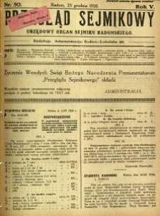 Przegląd Sejmikowy : Urzędowy Organ Sejmiku Radomskiego, 1926, R. 5, nr 50