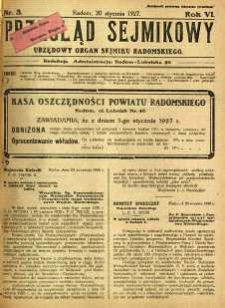 Przegląd Sejmikowy : Urzędowy Organ Sejmiku Radomskiego, 1927, R. 6, nr 3