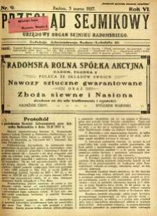Przegląd Sejmikowy : Urzędowy Organ Sejmiku Radomskiego, 1927, R. 6, nr 9