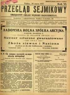 Przegląd Sejmikowy : Urzędowy Organ Sejmiku Radomskiego, 1927, R. 6, nr 12