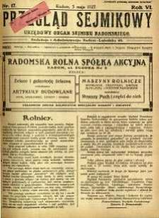Przegląd Sejmikowy : Urzędowy Organ Sejmiku Radomskiego, 1927, R. 6, nr 17
