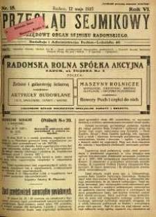 Przegląd Sejmikowy : Urzędowy Organ Sejmiku Radomskiego, 1927, R. 6, nr 18