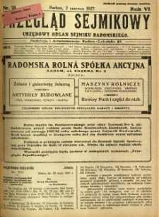 Przegląd Sejmikowy : Urzędowy Organ Sejmiku Radomskiego, 1927, R. 6, nr 21