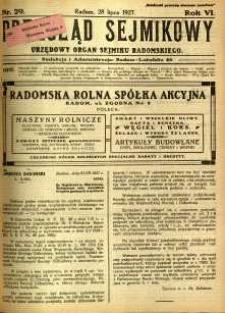 Przegląd Sejmikowy : Urzędowy Organ Sejmiku Radomskiego, 1927, R. 6, nr 29