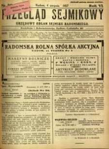 Przegląd Sejmikowy : Urzędowy Organ Sejmiku Radomskiego, 1927, R. 6, nr 30