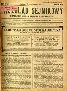 Przegląd Sejmikowy : Urzędowy Organ Sejmiku Radomskiego, 1927, R. 6, nr 40