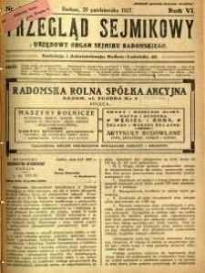 Przegląd Sejmikowy : Urzędowy Organ Sejmiku Radomskiego, 1927, R. 6, nr 41