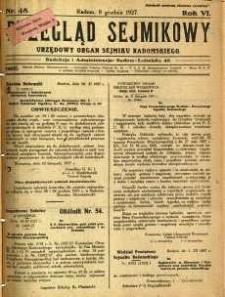 Przegląd Sejmikowy : Urzędowy Organ Sejmiku Radomskiego, 1927, R. 6, nr 48