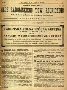 Przegląd Sejmikowy : Urzędowy Organ Sejmiku Radomskiego, 1927, R. 6, nr 48, dod.
