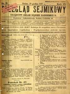 Przegląd Sejmikowy : Urzędowy Organ Sejmiku Radomskiego, 1927, R. 6, nr 51