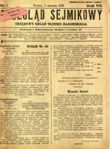 Przegląd Sejmikowy : Urzędowy Organ Sejmiku Radomskiego, 1928, R. 7, nr 1