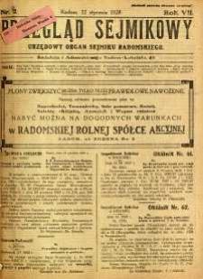 Przegląd Sejmikowy : Urzędowy Organ Sejmiku Radomskiego, 1928, R. 7, nr 2