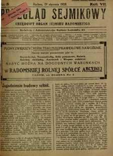 Przegląd Sejmikowy : Urzędowy Organ Sejmiku Radomskiego, 1928, R. 7, nr 3
