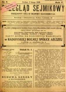 Przegląd Sejmikowy : Urzędowy Organ Sejmiku Radomskiego, 1928, R. 7, nr 5