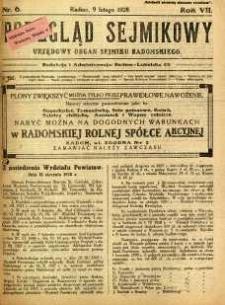 Przegląd Sejmikowy : Urzędowy Organ Sejmiku Radomskiego, 1928, R. 7, nr 6