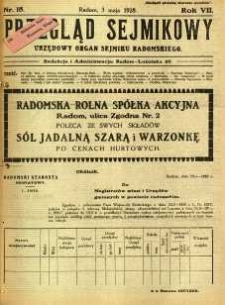 Przegląd Sejmikowy : Urzędowy Organ Sejmiku Radomskiego, 1928, R. 7, nr 18
