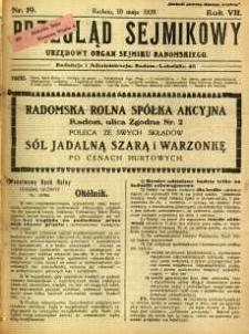 Przegląd Sejmikowy : Urzędowy Organ Sejmiku Radomskiego, 1928, R. 7, nr 19