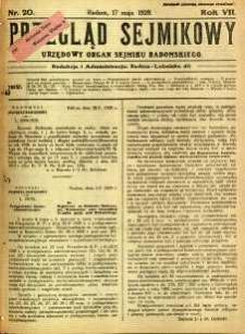 Przegląd Sejmikowy : Urzędowy Organ Sejmiku Radomskiego, 1928, R. 7, nr 20