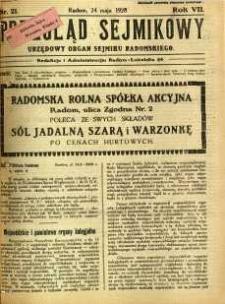 Przegląd Sejmikowy : Urzędowy Organ Sejmiku Radomskiego, 1928, R. 7, nr 21