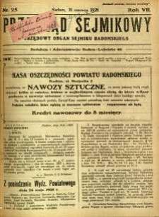 Przegląd Sejmikowy : Urzędowy Organ Sejmiku Radomskiego, 1928, R. 7, nr 25