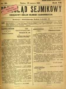 Przegląd Sejmikowy : Urzędowy Organ Sejmiku Radomskiego, 1928, R. 7, nr 26