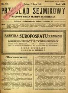 Przegląd Sejmikowy : Urzędowy Organ Sejmiku Radomskiego, 1928, R. 7, nr 29