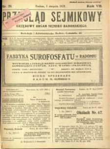 Przegląd Sejmikowy : Urzędowy Organ Sejmiku Radomskiego, 1928, R. 7, nr 31