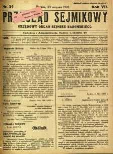 Przegląd Sejmikowy : Urzędowy Organ Sejmiku Radomskiego, 1928, R. 7, nr 34
