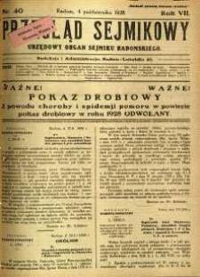 Przegląd Sejmikowy : Urzędowy Organ Sejmiku Radomskiego, 1928, R. 7, nr 40