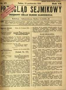 Przegląd Sejmikowy : Urzędowy Organ Sejmiku Radomskiego, 1928, R. 7, nr 43