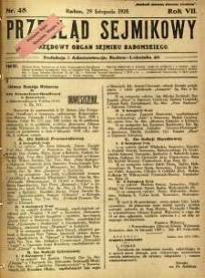 Przegląd Sejmikowy : Urzędowy Organ Sejmiku Radomskiego, 1928, R. 7, nr 48