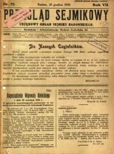 Przegląd Sejmikowy : Urzędowy Organ Sejmiku Radomskiego, 1928, R. 7, nr 52