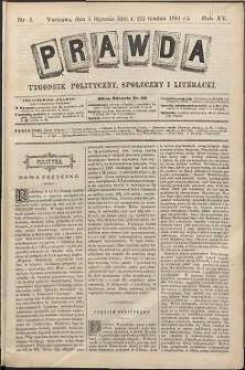 Prawda : tygodnik polityczny, społeczny i literacki, 1895, R. 15, nr 1