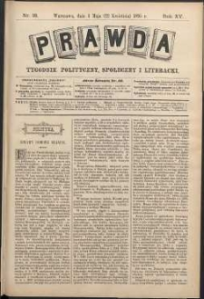 Prawda : tygodnik polityczny, społeczny i literacki, 1895, R. 15, nr 18